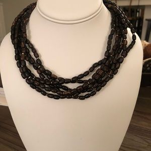 SILPADA N1349 PALM WOOD/SILVER BEAD NECKLACE